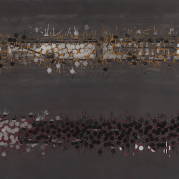 TRIBE 175 - 2013, acrylic, watercolor, graphite on paper, 35.5 x 72 inches (AVAILABLE)