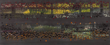 TRIBE 176 - 2013, acrylic, watercolor, graphite on paper, 35.5 x 72 inches (SOLD)