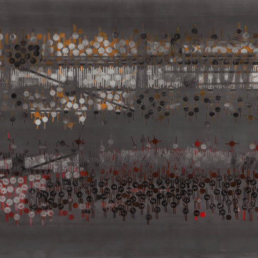 TRIBE 177 - 2013, acrylic, watercolor, graphite on paper, 35.5 x 72 inches (SOLD)