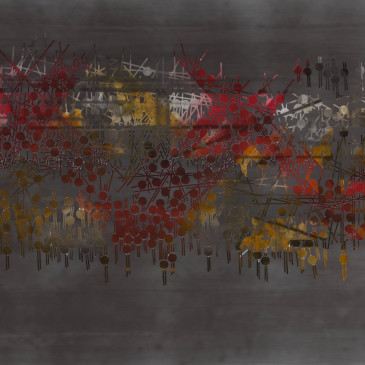 TRIBE 182 - 2013, acrylic, watercolor, graphite on paper, 35.5 x 72 inches (AVAILABLE)