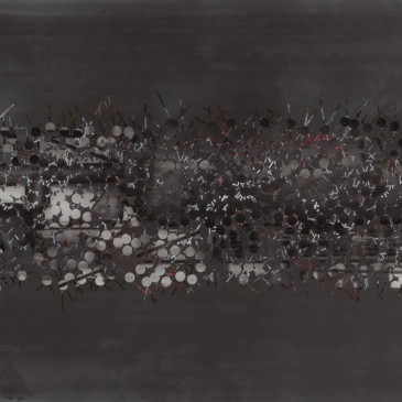 TRIBE 185 - 2013, acrylic, watercolor, graphite on paper, 35.5 x 72 inches (AVAILABLE)