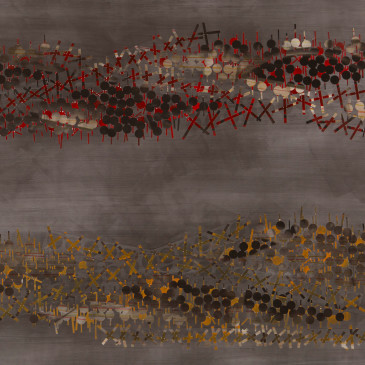 TRIBE 194 - 2013, acrylic, watercolor, graphite on paper, 35.5 x 72 inches (SOLD)