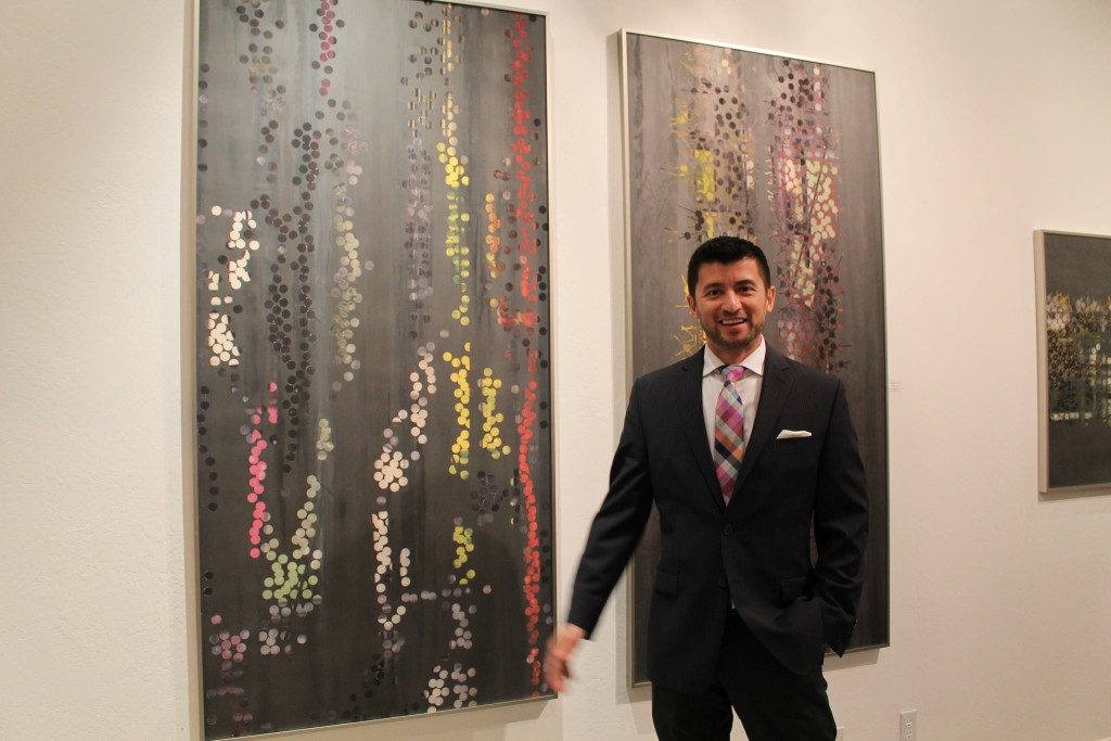 Benito Rangel de Maria at opening reception at ZenerSchon Contemporary Art