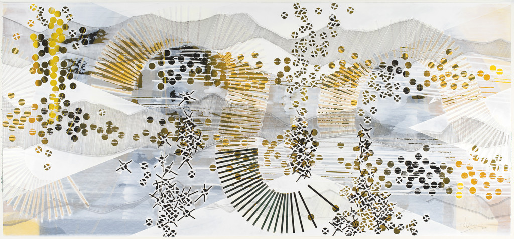 BLAZE 209, 2015, acrylic, watercolor, graphite, ink, artist tape, correction Tape on paper, 30 X 65 inches View full size