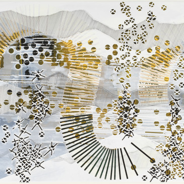 BLAZE 209 - 2015, acrylic, watercolor, graphite, ink, artist tape, correction Tape on paper, 30 X 65 inches (AVAILABLE)