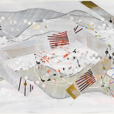 BLAZE 210 - 2015, acrylic, watercolor, graphite, ink, artist tape, correction Tape on paper, 30 X 65 inches (AVAILABLE)