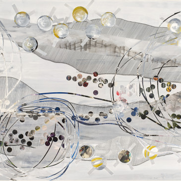 BLAZE 213 - 2015, acrylic, found paper, watercolor, graphite, ink on paper, 30.75 X 68.25 inches (AVAILABLE)