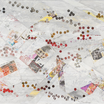 BLAZE 214 - 2015, acrylic, found paper, watercolor, graphite, ink on paper, 35.5 X 72 inches (SOLD)