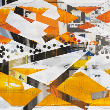 BLAZE 218 - 2015, acrylic, found paper, watercolor, graphite, ink on paper, 30 X 65 inches (Available through the Julie Zener Gallery)
