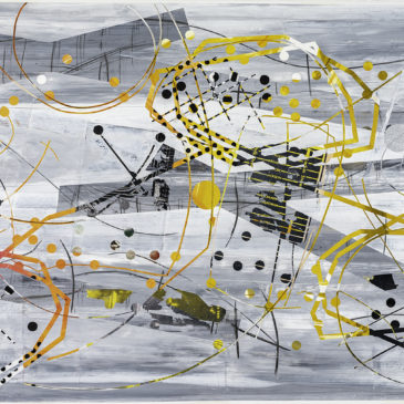 BLAZE LINE PAINTING 2 - 2019 acrylic, found paper, watercolor, graphite, ink on paper, 41.5 H X 75 W inches (AVAILABLE)
