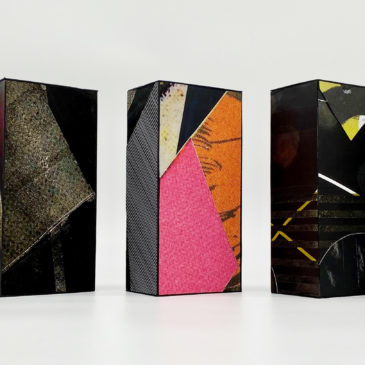 (Left to Right) BRICK 23, BRICK 9, BRICK 21, BRICK 14, BRICK 11 - 2020-2021, mixed media on paper mounted on clay brick, 7 3/4 x 3 3/4 x 2 3/8 each