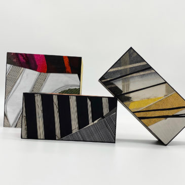 3 BRICKS - 2020-2021, mixed media on paper mounted on clay brick and concrete cinder block, 7 3/4 x 3 3/4 x 2 3/8 small, 7 3/4 x 7 3/4 x 7 3/4 large