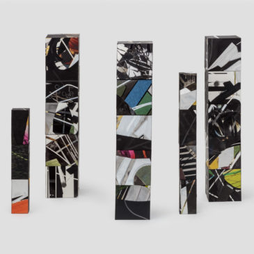 The Brick Project - 5 Totems, 2020-2021, mixed media on paper mounted on clay brick and cinder block, Dimensions variable