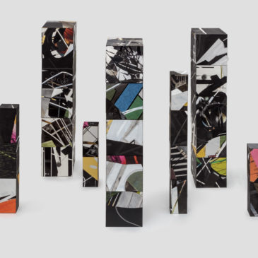 The Brick Project - 7 Totems, 2020-2021, mixed media on paper mounted on clay brick and cinder block, Dimensions variable